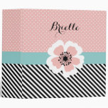 Retro Pink Polka Dots and Stripes Flower With Name Binders