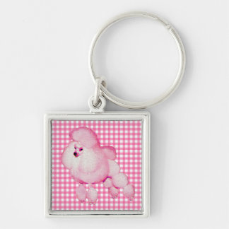 Retro Pink Poodle And Gingham Keychain