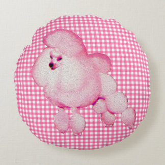 Retro Pink Poodle And Gingham Round Throw Pillow