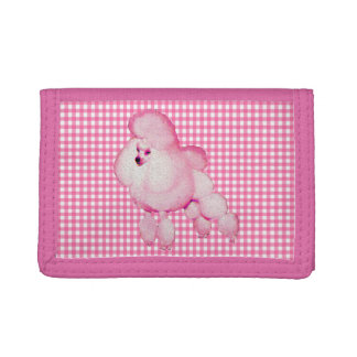 Retro Pink Poodle And Gingham wallet