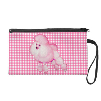 Retro Pink Poodle And Gingham Wristlet Purse