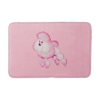 Retro Pink Poodle Bath Mat