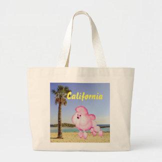 Retro Pink Poodle California Beach Tote