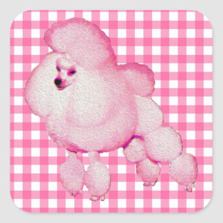 Retro Pink Poodle Gingham Stickers