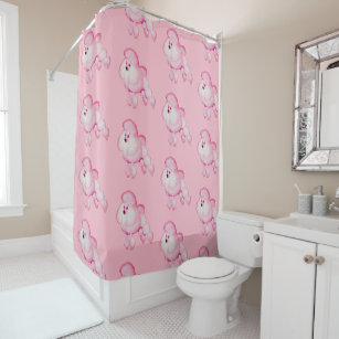 Retro Pink Poodle Shower Curtain