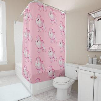 Retro Pink Poodle Shower Curtain