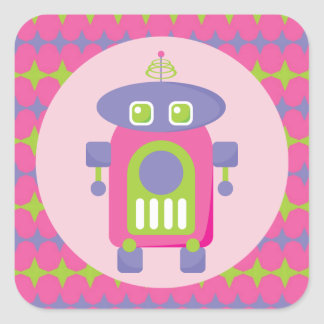 Retro Pink, Purple and Green Robot with Stars Square Sticker