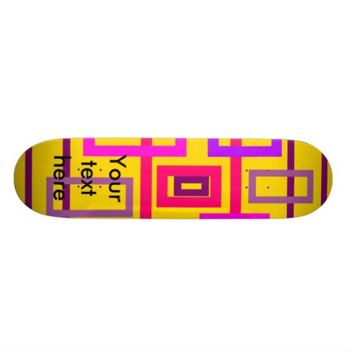 Retro pink purple and violet squares on yellow custom skate board