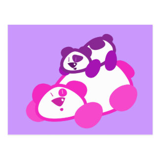 Retro Pink & Purple Panda Parent & Cub Postcard