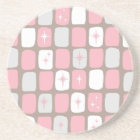 Retro Pink Starbursts Sandstone Drink Coaster