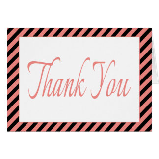 Retro Pink Thank You Black & Pink Stripes Note Card