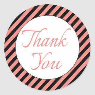 Retro Pink Thank You With Pink And Black Stripes Round Sticker