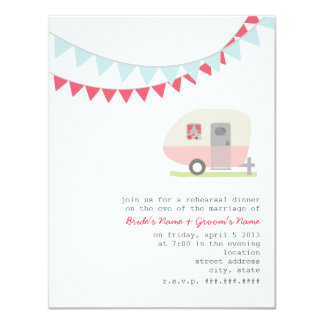 Retro Pink Trailer Rehearsal Dinner Invitation