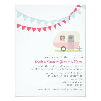 Retro Pink Trailer Wedding Invitation