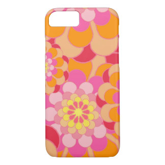 Retro Pink Yellow Tones Floral Pattern iPhone 8/7 Case