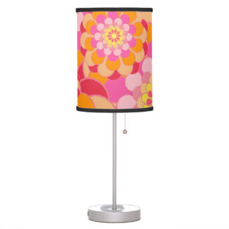 Retro Pink Yellow Tones Floral Pattern Table Lamps