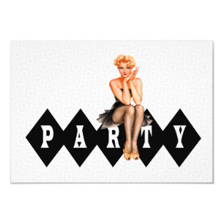 Retro Pinup Girl Birthday Party V2 Card