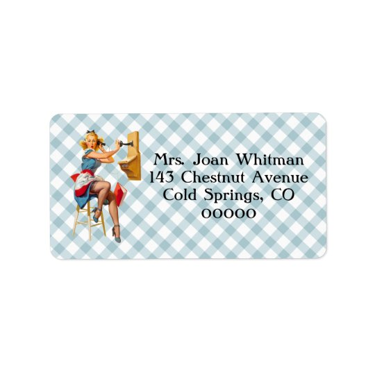 Retro Pinup Telephone Gingham Vintage Blue Red Label