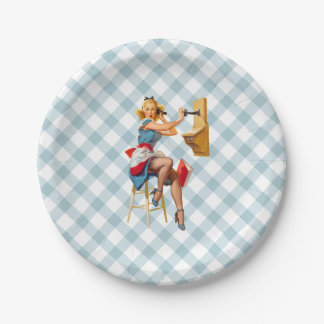 Retro Pinup Telephone Gingham Vintage Blue Red Paper Plate