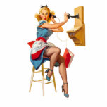 Retro Pinup Telephone Gingham Vintage Blue Red Standing Photo Sculpture