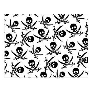 Retro Pirate Skulls Postcard