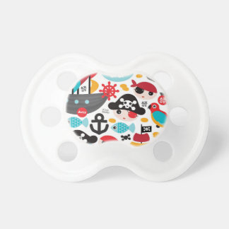 Retro pirates illustration sailing pacifier