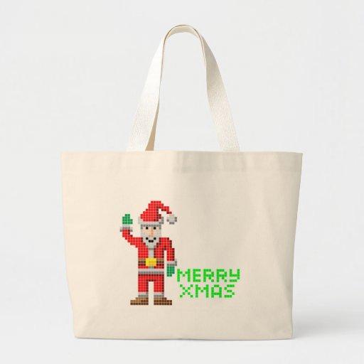 Retro pixel art Christmas Santa Canvas Bag
