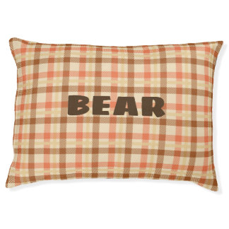 Retro Plaid Custom Cozy Dog Pillow. Pet Bed