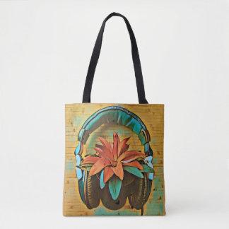 Retro plant wearing headphones tote bag