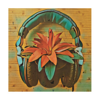 Retro plant wearing headphones wood wall decor