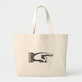 retro pointing index  finger large tote bag