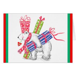 Retro Polar Bearing Gifts Christmas Card