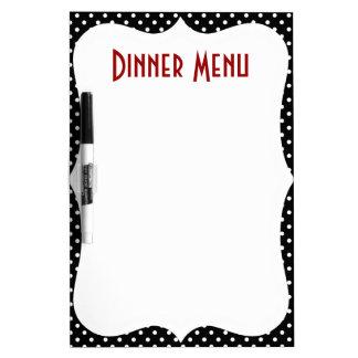 Retro Polka Dot Dinner Menu Dry Erase Whiteboard