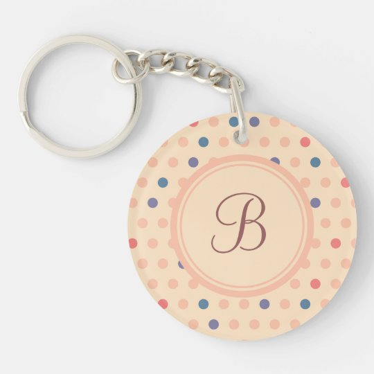 Retro Polka Dot Single-Sided Round Acrylic Keychain