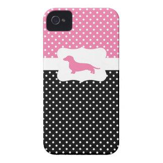 Retro Polka Dot w/Dachshund Case-Mate iPhone 4 Case
