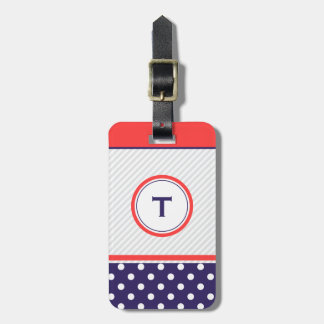 Retro polka dots design  with monogram luggage tag