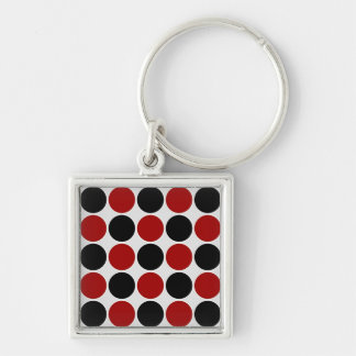 Retro Polka Dots in Red & Black Keychain