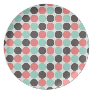 Retro polka dots plate, melamine diner style plate