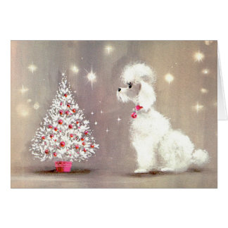 Retro Poodle and Christmas Tree Card
