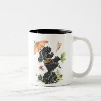 Retro Poodle in the Rain Two-Tone Coffee Mug