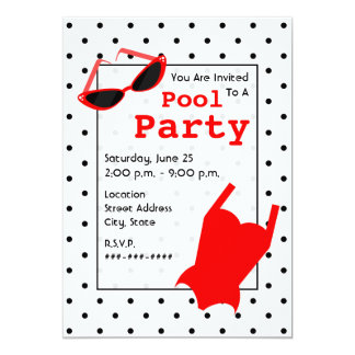 """Retro Pool Party - Cat Eye Sunglasses Red Swimsuit 5"""" X 7"""" Invitation Card"""