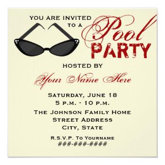 Retro Pool Party Invitation Cat Eye Sunglasses