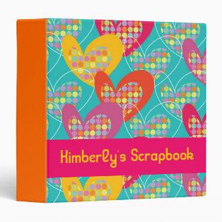 Retro Pop Colorful Valentine Hearts Binder