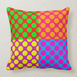 Retro PopArt Style Funky/Bright Colourful Dots Throw Pillow