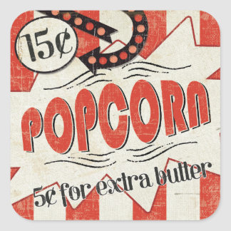 Retro Popcorn Square Sticker