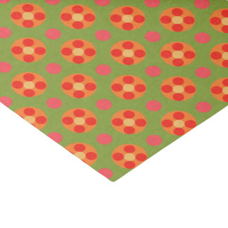 Retro Poppy Red Flowers and Polka Dots on Green Tissue Paper