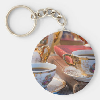 Retro porcelain coffee cups with hot espresso basic round button keychain