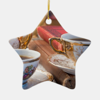 Retro porcelain coffee cups with hot espresso ceramic ornament