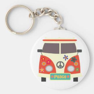 Rétro porte - clé hippie d'autobus porte-clé rond
