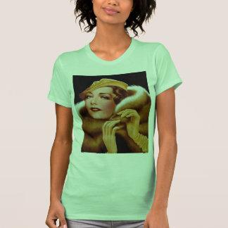 Rétro portrait ambre vintage de beauté des femmes t-shirt